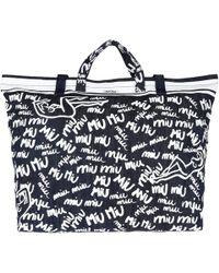 Miu Miu Shopping Bag Print Canvas Blue in Blue - Lyst 127d9bed89