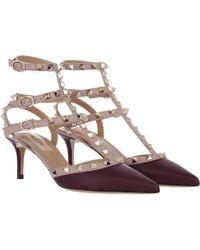 Valentino - Rockstud Ankle Strap Pumps Rubin Powder - Lyst
