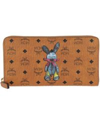 MCM - Rabbit Zippered Wallet Large Cognac - Lyst