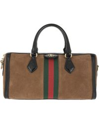 b5bea6d0155 Gucci - Ophidia Medium Top Handle Bag Suede Beige - Lyst