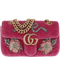 87a85fe5576d0 Gucci - GG Marmont Velvet Mini Bag Light Raspberry - Lyst