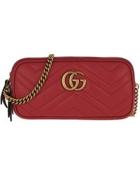 3163b3f4d Gucci Gg Marmont Leather Mini Chain Bag in Pink - Lyst
