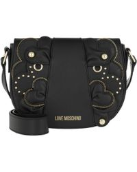 Love Moschino - Heart Patches Smooth Crossbody Bag Nero - Lyst