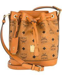 MCM - Mini Heritage Drawstring Bucket Bag Cognac - Lyst