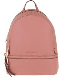 97dcb38e0e69a8 Michael Kors Rhea Zip Md Backpack. Oyster in Pink - Lyst