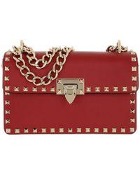 e5fee33051a0 Valentino Rockstud Crossbody Camera Bag Red in Red - Lyst