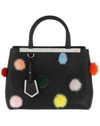 Fendi - Petite 2jours Bag With Pompon Black - Lyst
