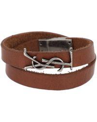 Saint Laurent - Ysl Logo Bracelet Leather Dark Brown - Lyst