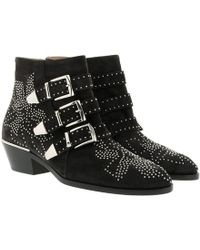 Chloé - Women's Susan Pointed Toe Studded Suede & Shearling Booties - Lyst