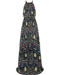 Issa Silk-Chiffon Halter Maxi Dress - Lyst
