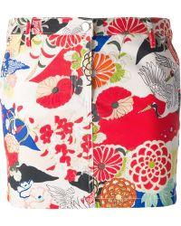 Carven Japanese Flower Print Mini Skirt - Lyst