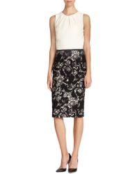 Carolina Herrera Lace-Skirt Dress - Lyst