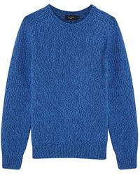 Paul Smith Blue Chunky Knit Wool Blend Jumper - Lyst