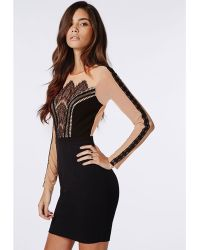 Missguided Crepe Skirt Lace And Mesh Bodycon Dress Nude/Black black - Lyst