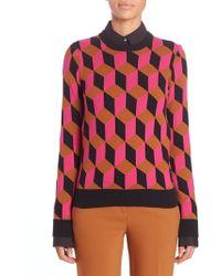 Michael Kors | Geometric Print Cashmere Sweater | Lyst