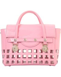 Versace Signature Patent Leather Top Handle Bag - Lyst