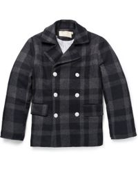 Maison Kitsuné - Checked Wool Peacoat - Lyst