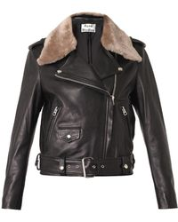 Acne Studios Mape Shearlingtrimmed Leather Jacket - Lyst