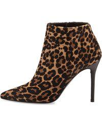 Stuart Weitzman Hitimes Leopard-print Calf Hair Ankle Boot - Lyst