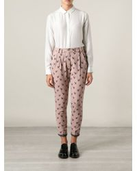Milano Parigi - Poodles Print Pleated Cropped Trousers - Lyst