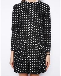Asos Coat With Dropped Waist & Cutwork - Lyst