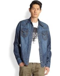 True Religion Jake Western Denim Sportshirt - Lyst