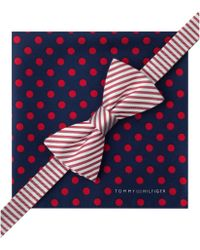 Tommy Hilfiger Stripe Bow Tie Jumbo Dot Pocket Square Set - Lyst