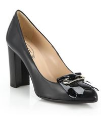 Tod's Gomma Safety-Pin Patent Leather-Fringed Pumps black - Lyst