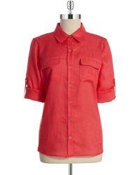 Calvin Klein Linen Roll Sleeve Blouse - Lyst