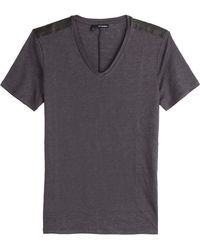 The Kooples Linen T-Shirt With Leather Detailing - Lyst