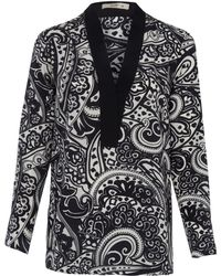 Etro Black and White Paisley Print Silk Shirt - Lyst