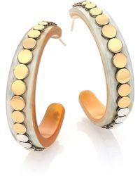 John Hardy | Dot Buffalo Horn, 18k Yellow Gold & Sterling Silver Hoop Earrings/1.75 | Lyst
