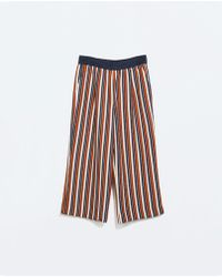 Zara Striped Cropped Trousers - Lyst