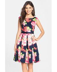 Eliza J Belted Floral Print Fit & Flare Dress - Lyst