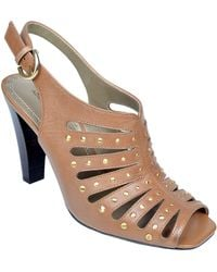 Adrienne Vittadini Gentri Leather Studded Slingback Sandals - Lyst