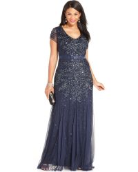 Adrianna Papell Plus Size Capsleeve Embellished Gown - Lyst
