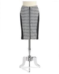 Michael by Michael Kors Petite Zipper Houndstooth Skirt - Lyst