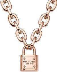 Michael Kors Rose Gold-Tone Chain Padlock Pendant Necklace - Lyst