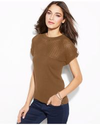 Michael Kors Michael Petite Mesh Panel Crew-Neck Sweater - Lyst