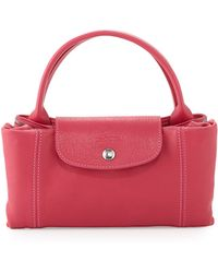 Longchamp Le Pliage Cuir Handbag with Strap Candy - Lyst