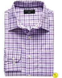 Banana Republic Factory Slim Fit Non Iron Check Shirt Deep Purple - Lyst