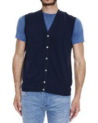 Fay Sweater Garment Dyed Cotton Sleeveless Cardigan blue - Lyst