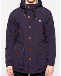Fred Perry Parka With Hood - Lyst