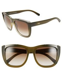 Chloé 'Dallia' 55Mm Sunglasses - Khaki - Lyst