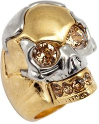 Alexander McQueen | Gold And Swarovski Crystal Skull Detail Ring | Lyst