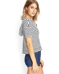 Forever 21 Striped Boxy Hooded Sweatshirt - Lyst