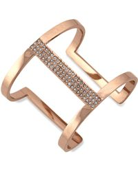 Vince Camuto - Rose Gold-tone Glass Crystal Cut-out Cuff Bracelet - Lyst