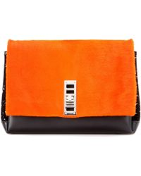 Proenza Schouler Ps Elliot Leather And Fur Clutch - Orange