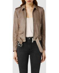 AllSaints Albion Leather Biker Jacket - Lyst