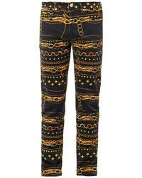 Versus  Chain-Print Stretch-Cotton Jeans black - Lyst
